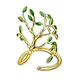 Uloveido Baum des Lebens Einstellbare Größe Ring für Frauen, Blätter Form Offenen Ring für Mädchen HR303
