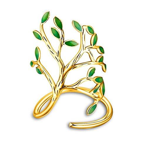 Uloveido Fashion Green Tree Design Schmuck Ring für Frauen, Gold Farbe Green Leaves Anniversary Party Ring für Mädchen HR303