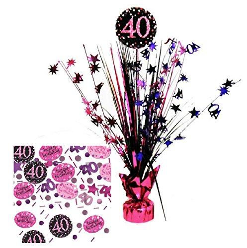 Feste Feiern Tischdekoration 40. Geburtstag I 2 Teile Tischaufsatz Tischaufsteller Kaskade Konfetti Pink Schwarz Violett metallic Party Deko Set Happy Birthday 40