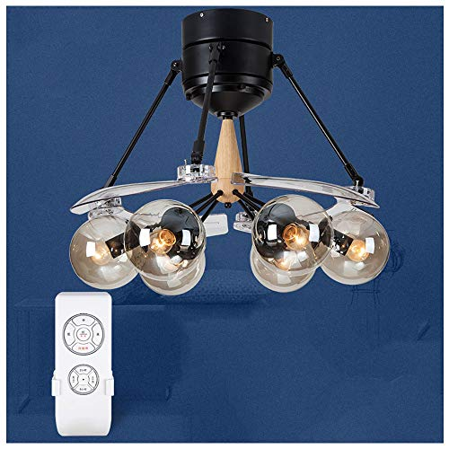 CLCYL Waldwind Unsichtbare Deckenventilator Licht Wohnzimmer Nordic Magic Bean Fan Licht Lampe Home Restaurant Mit Lüfter Kronleuchter,Yellow (Motor Lasko-fan)