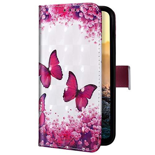 Uposao Kompatibel mit iPhone 11 Pro Handyhülle Handytasche Glitzer Bling Glänzend Bunt Muster Schutzhülle Flip Case Brieftasche Klapphülle Leder Hülle Cover,Schmetterling Kirschblüte
