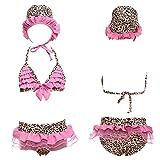 Nunubee Dreiteilig Leopardenprint mit Hut Mädchen Badeanzug Niedlich Design Badeanzug Set, Rosa 3T
