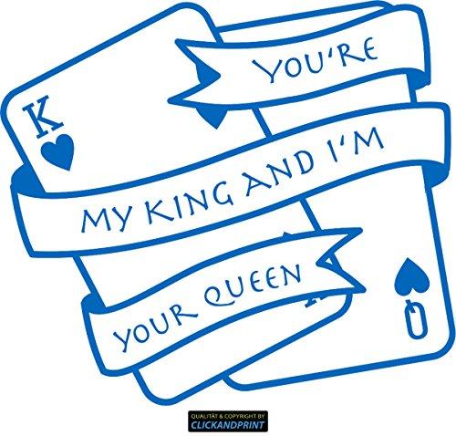 CLICKANDPRINT Aufkleber » You are my king and I am your queen, 130x115,6cm, Azurblau • Dekoaufkleber / Autoaufkleber / Sticker / Decal / Vinyl