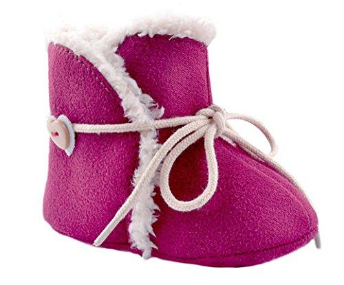 Tangda 1 Paire Bottes de Neige Bébé Fille Garçon Bottines Chaussures Premiers Pas Chaud Hiver Chaussons pour 0-18mois Multicolore Optique Rouge 2