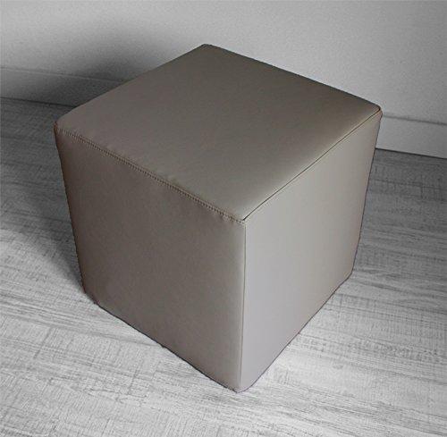 Arketicom Pouf/Sitzhocker aus Kunstleder (Bezug abnehmbar, mit Reißverschluss) und Polyurethan, verschiedene Farben zeitgenössisch 35 cm Talpa Taupe