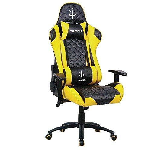 Triton p050-x3-by Gaming Chair-sedia, Simili Cuir, Noir/Jaune, 70x 65x 125cm