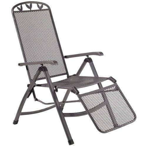 greemotion Gartensessel Toulouse - Outdoor-Relaxsessel aus Streckmetall-Stahl in Grau - Klappsessel hohe Rückenlehne 5-fach verstellbar - Hochlehner klappbar mit Fußteil für Garten, Terrasse & Balkon, 57 x 67 x 109 cm