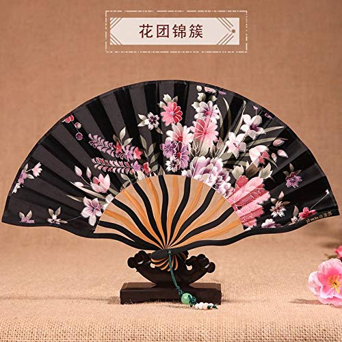 XIAOHAIZI Handklappventilator,Vintage Chinese Classical Summer Folding Fan Floral Black Ladies Gift Dance Fan -