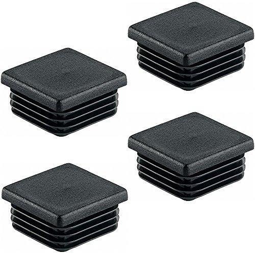Gedotec PE Rohrstopfen Fußkappen schwarz aus Kunststoff für Vierkantrohr | Formrohr-Stopfen quadratisch | Lamellenstopfen 90 x 90 mm | MADE IN GERMANY | 4 Stück - Abdeckkappen für Quadratrohr