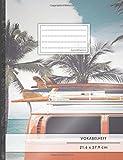 VOKABELHEFT DIN A4 • 50+ Seiten, Softcover, Register, Zweispaltig, Erfolgs-Tacker, 'Strandurlaub' • Original #GoodMemos Schulheft • Fremdsprachen leicht lernen, Lineatur 53