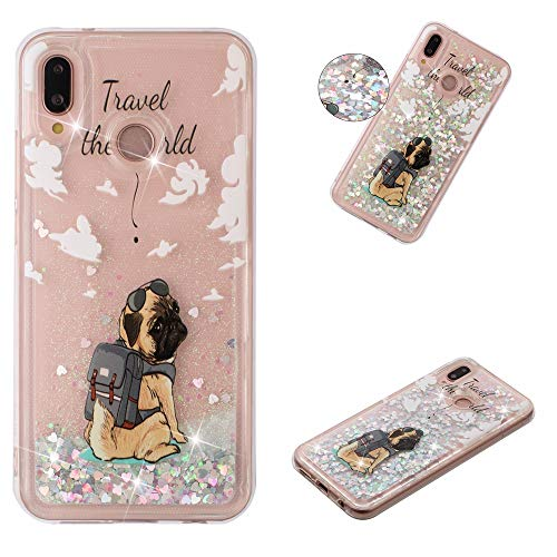 le für Huawei P30 Lite,Glitzer Weich Treibsand Handyhülle Glitter Quicksand Silikon TPU Bumper Schutzhülle Case Cover-Hund ()