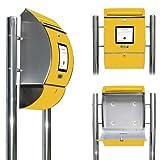 Edelstahl Standbriefkasten mit Fuß und Motiv: Briefkasten gelb