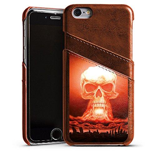 Apple iPhone 5 Housse Étui Silicone Coque Protection Explosion Tête de mort Ville Étui en cuir marron