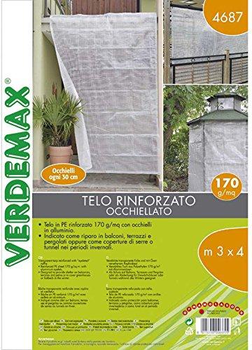 Verdemax 46873x 4m trasparente telone PE rinforzato con rafia e occhielli