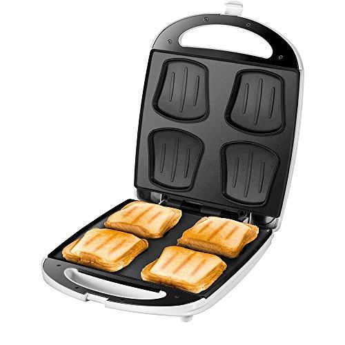 UNOLD SANDWICH-TOASTER Quadro, 4 Toasts, 4er, XXL Sandwichmaker, 1.100 W, Antihaftbeschichtung,...