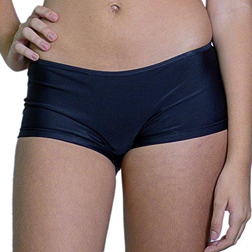 Kkompany Damen Lycra Hot Pants Bikini Bottom Swim Gym Boy Leg Shorts Slip Boxer Gr. Small, schwarz