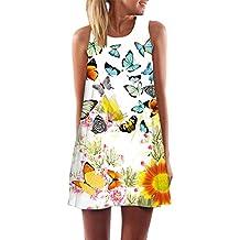 Kleid Damen,Binggong Vintage Boho Frauen Sommer Sleeveless Strand Printed Short Mini Dress Mode Kleid Freizeit Reizvolle MiniKleid Elegant