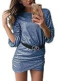 ORANDESIGNE Damen Festlich Hochzeit Kleider Glänzend Elegant Lang Abendkleider Langarm Figurbetont Cocktailkleider Maxikleider Blau DE 42