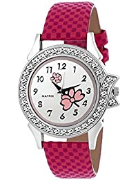 Matrix Analog Multi Color Dial,Pink Leather Strap ,Stone Studded Women & Girls Watch-WN-26-A