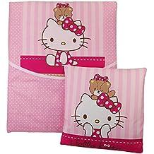 4 piezas bebé Ropa de cama Hello Kitty Manta Cojín para cochecito Moisés Cuna Escobillero