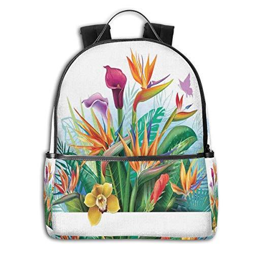 College School Backpacks,Cattleya Exotic Flower Strelitzia Blossom Fan Palm Royal Fern Epic Gardening Art,Casual Hiking Travel Daypack -
