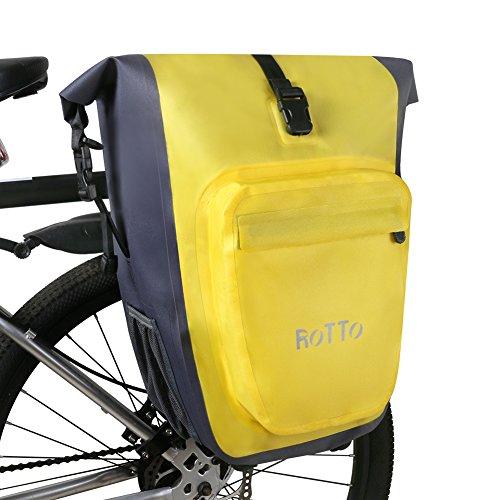 ROTTO Hinterradtasche Gepäckträgertasche Fahrradtasche Gepäckträger Abnehmbar Wasserdicht 27 Liter (Gelb-Paar)