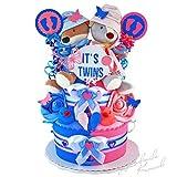 Gâteau gâteau/Pampers Couches > > bébé cadeau pour jumeaux dans un beau bleu/Argile Rose//Cadeau pour la naissance, baptême, baby party//Cadeau Original et Pratique Pour Bébé