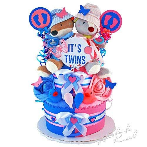 MomsStory - Windeltorte Zwillinge | Baby-Geschenk zur Geburt Taufe Babyshower | 2-Stöckig (Blau-Rosa) mit Plüschtier Schnuller & mehr