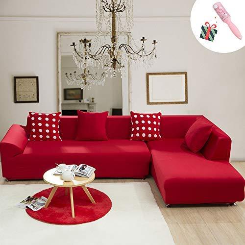 Morbuy copridivano colore solido copridivano elasticizzato fodera copridivani universale per divano con corda fissa sofa protettore copertura divano antiscivolo (4 posti,rosso)