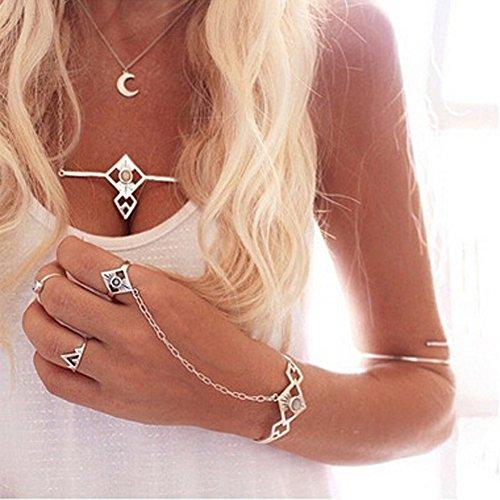 Kercisbeauty Armreif für Halloween, Gypsy, Boho, indischer Stil, Silber, einfache Handkette mit Silberring, Party, Strand