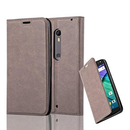 Cadorabo Hülle für Motorola Moto X Style - Hülle in Kaffee BRAUN – Handyhülle mit Magnetverschluss, Standfunktion und Kartenfach - Case Cover Schutzhülle Etui Tasche Book Klapp Style