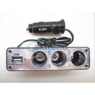 aktrend - Original KFZ - Auto Stromverteiler Strom-Adapter-Steckdose mit USB/USB Auto KFZ Zigarettenanzünder Verteiler 3 fach 12V