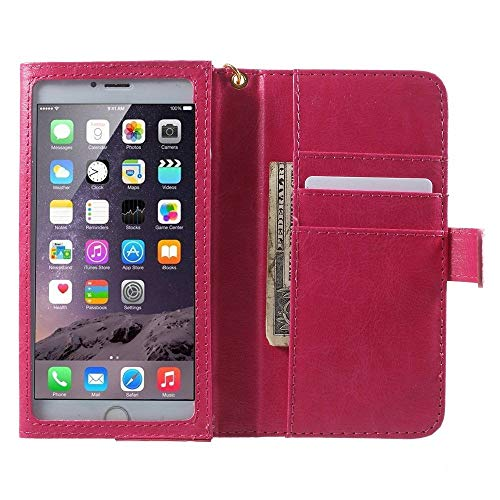 Dynastie Frame (DFV mobile - Crazy Horse PU Leather Wallet Case with Frame Touchable Screen and Card Slots for => LG SP200 Tribute Dynasty TD-LTE > Pink)
