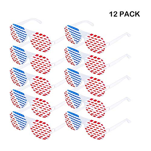 shewt 12er Pack amerikanische Flagge Sonnenbrille patriotische USA Shutter Brille rot weiß und blau Sonnenbrille für Independence Day Party Favors