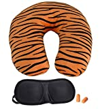 Lifestyle-You LY181A Travel Neck Pillow with Eye Shades and Ear Plug (Orange and Black)