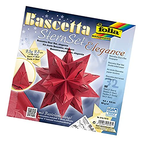 Folia 213/1010 - Bastelset Bascetta Stern, Elegance, 9,5 x 9,5 cm, 32 Blatt, Deep Jungle rot