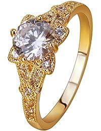 YAZILIND elegante joyeria chapado en oro cubic zirconia ronda de flores anillo de compromiso banda de