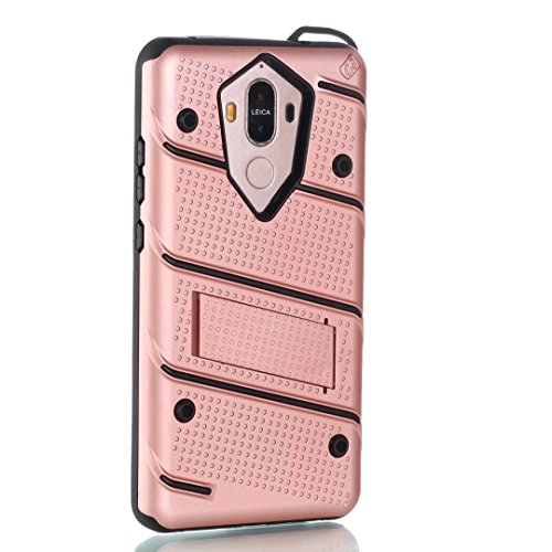 EKINHUI Case Cover Ultra Thin Slim Dual Layer PC + Soft TPU Back Schutzhülle Case [Shockproof] mit Kickstand für Huawei Mate 9 ( Color : Black ) Rosegold
