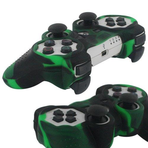 Skque Weiche Silikon Schutzhülle für Sony Playstation 3Controller, Camo Muster, Schwarz, Grün
