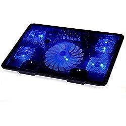 Refroidisseur PC portable, FTUNG Refroidissement Rapide - équipé de 2 ports USB, adapté pour 12-17 pouces, avec 5 ventilateurs