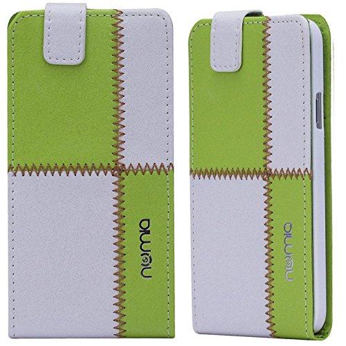 Huawei Ascend G6 Hülle, numia Handyhülle Handy Schutzhülle [Handytasche mit Standfunktion und Kartenfach] Pu Leder Tasche fürHuawei Ascend G6 Case Cover [Weiss-Grün]