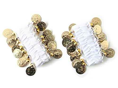 MBW Belly Dance Handkette Armband Handschmuck Armbänder mit goldfarbenen Münzen (Paar) in weiß