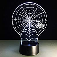 Night Lamp,Spider Web 3D Lamp 7 Color Change Desk Lamp Stereoscopic Nightlight Decorative 3D Table Lamps Three-in-one Mode USB Children
