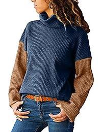 SANFASHION Damen Kontrastfarbe Pulli Frauen Colorblock StänderHoher Kragen  Langarm Oberteil Strickpullover Outwear Pullover 625244e03c
