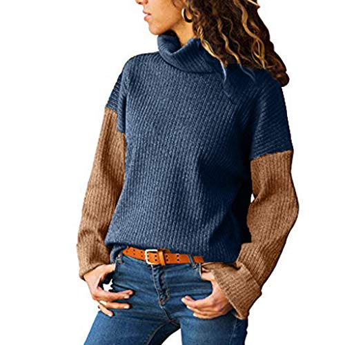 SANFASHION Damen Pulli Frauen Kontrastfarbe Rollkragenpullover Farbe Abgestimmt Hoher Kragen Oberteil Langärmelige Dünne Pullover Sweatshirt Puff Sleeve Hoodie