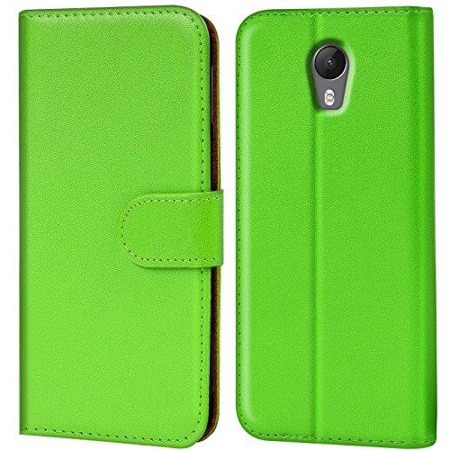 Verco Jerry 2 Hülle, Handyhülle für Wiko Jerry 2 Tasche PU Leder Flip Case Brieftasche - Grün