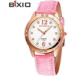 2015 High Quality Waterproof Brand Leather Strap Watches Famous Women leather Quartz Watch Fashion Casual Round Dial BX-35933