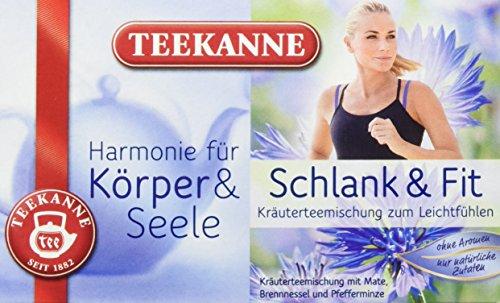 Teekanne Schlank und Fit Kräuterteemischung 20 Beutel, 2er Pack (2 x 40 g Packung) Schlank Tee
