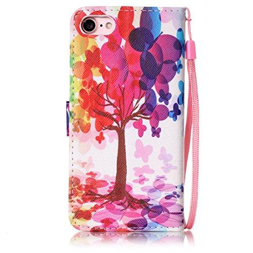 iPhone 7 Coque, Rose Cuir iPhone 7 Etui Rabat Style Prime Portefeuille Case Avec Carte Slots pour Apple iPhone 7 4.7 inch Avec Mandala Motif Image Rose