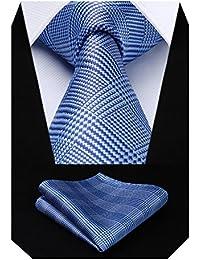 HISDERN Panuelo de corbata y panuelo de corbata a cuadros Wedding Tie para hombre